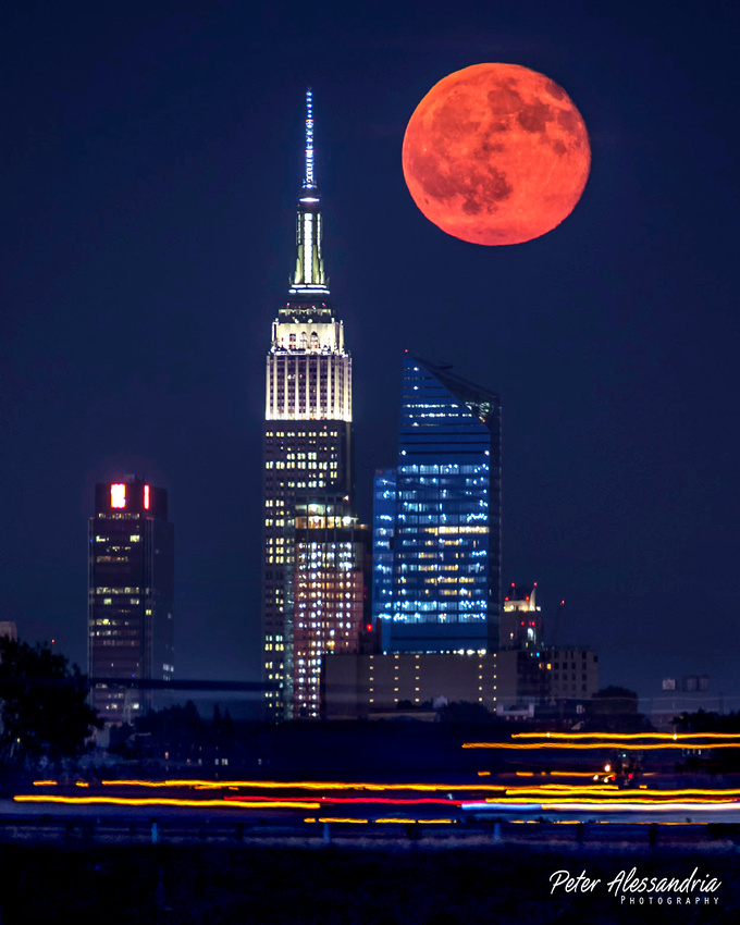 Buck Full Moon over Empire State Building