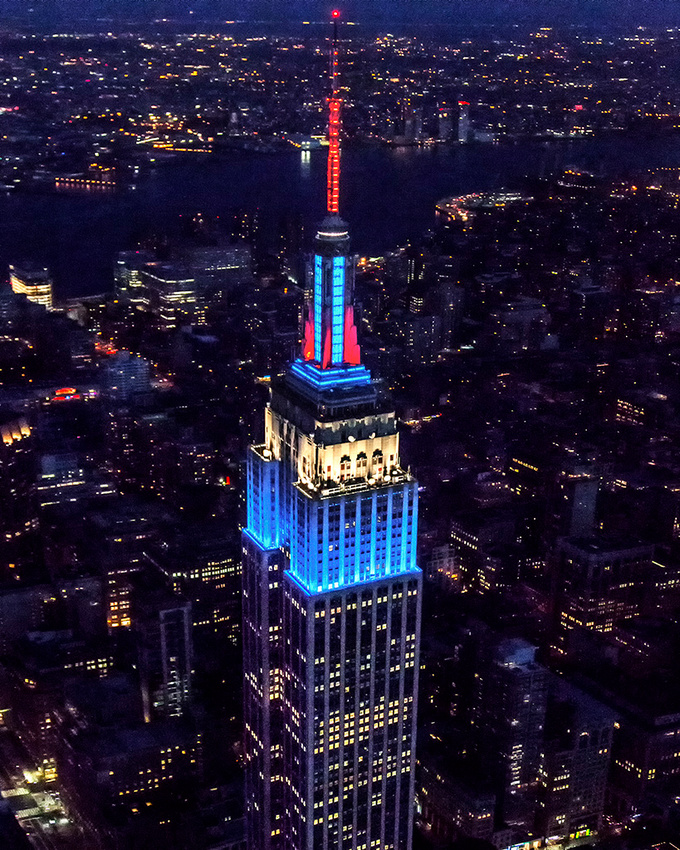 Empire State Building in Red White and Blue