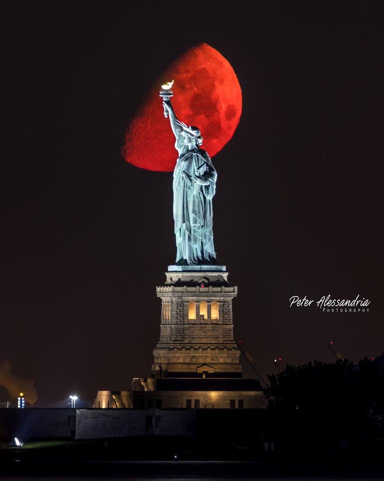 Statue of Liberty Super Moon