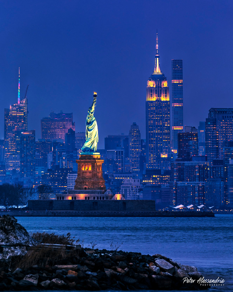 Statue of Liberty + Empire State Building