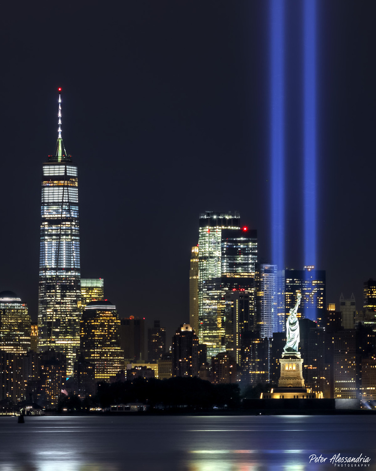 Sept 11 9/11 Tribute Lights Statue of Liberty