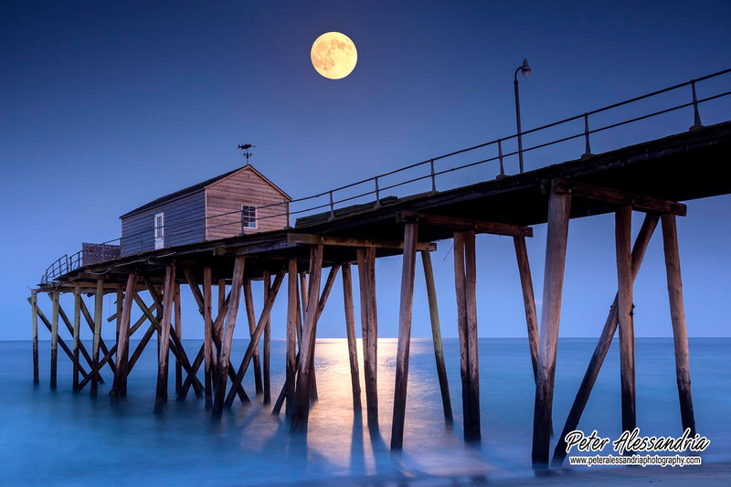 Super Moon ocean pier