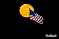 Full Moon American Flag Liberty Island