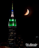 Moon Setting Over Empire State Building