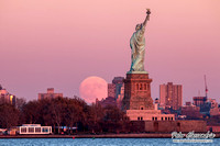 Statue of Liberty Super Moon SuperMoon