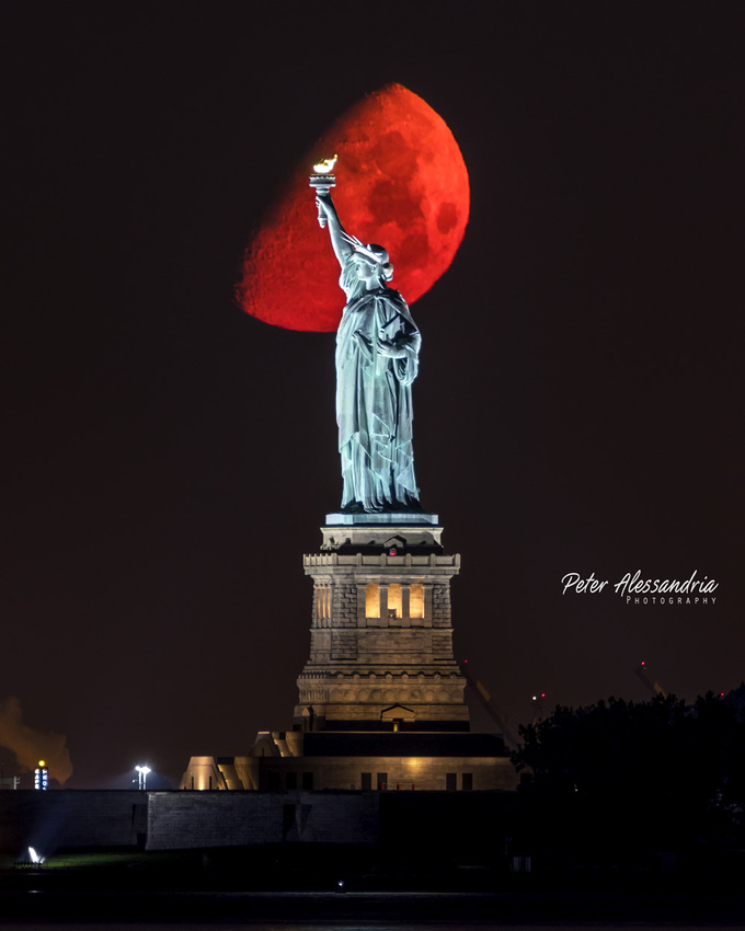 Statue of Liberty Super Moon