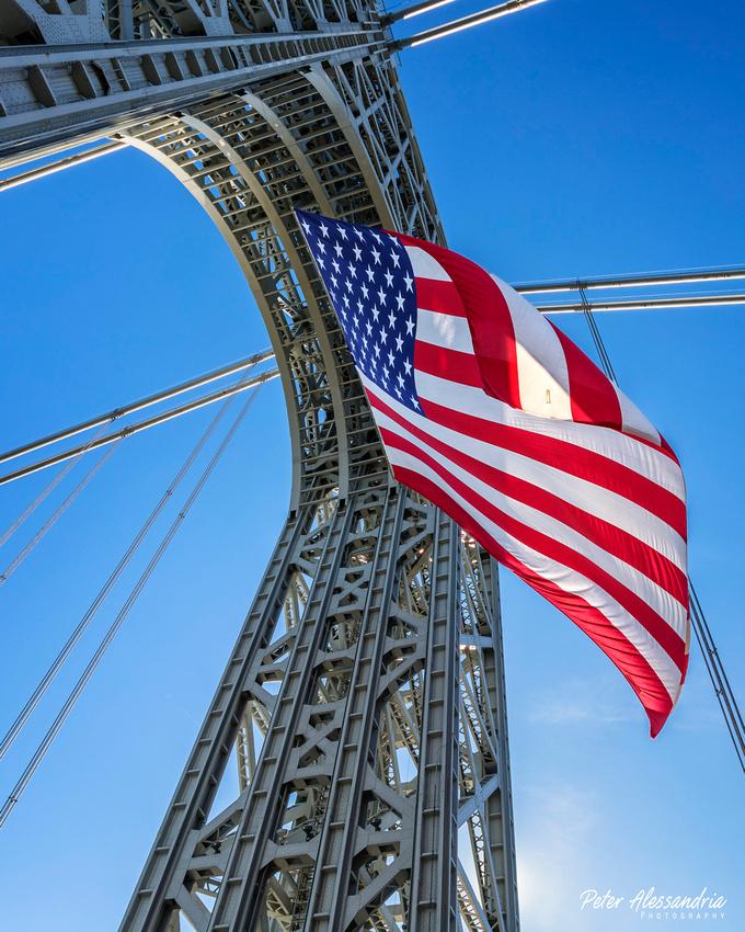George Washington Bridge American Flag